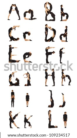 The Alphabet from A to L formed by humans - stock photo