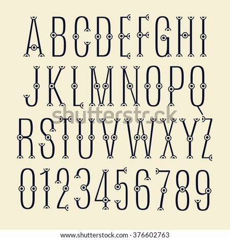 The alphabet letters and numbers with dots. Set. Zero 0 One 1 Two 2 Three 3 Four 4 Five 5 Six 6 Seven 7 eight 8 nine 9. - stock photo
