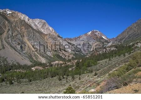 The alpine landscape along the Tioga Pass Road, Yosemite National Park - stock photo