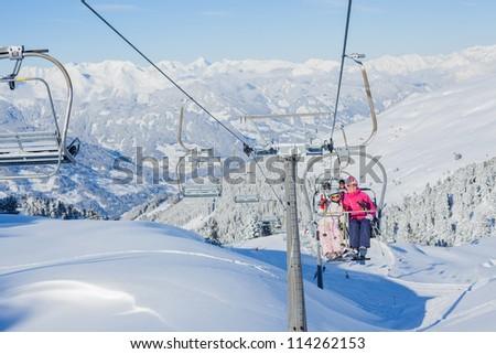 The Alpine skiing resort in Austria Zillertal - stock photo