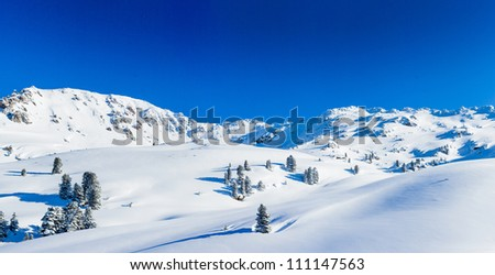 The Alpine skiing resort in Austria Zillertal. Panorama - stock photo