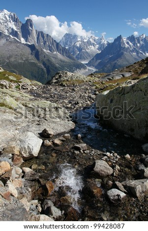 The alps from the White Lake near Chamonix Mont Blanc. - stock photo