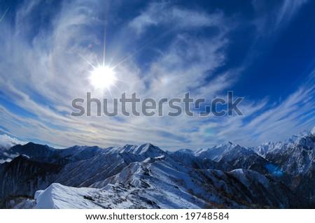 The Alps where a cloud flies - stock photo