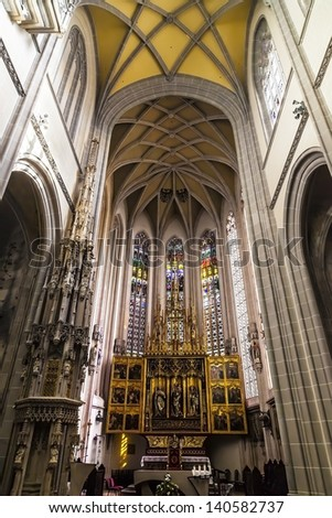 The altar and the gothic windowsat the Cathedral of Saint Elizabeth and the main square in Kosice, Slovakia. European Capital of Culture - stock photo