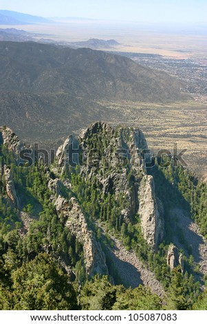 The amazing view from the Sandia mountains outside of Albuquerque, New Mexico - stock photo