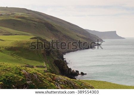 The amazing views from Torr Head in Country Antrim, Northern Ireland - stock photo