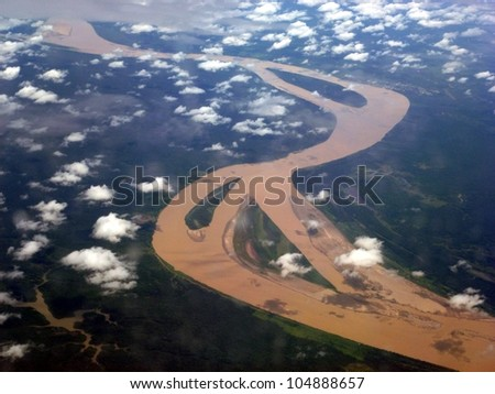 The Amazon River in Brazil, seen from an airplane - stock photo