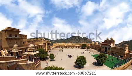 The Amber Fort, Rajasthan, Jaipur, India - stock photo