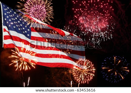 The American Flag comes to life with this powerful fireworks display.  Great for the 4th of July - stock photo
