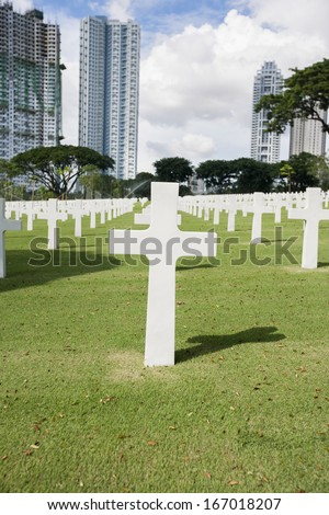 The American Memorial Cemetery with buildings in background; Manila; Philippines - stock photo