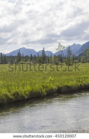 The Ammer flowing in the Graswang Valley through an idyllic high moorland - stock photo