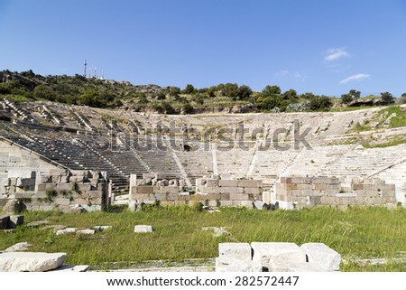 The ancient amphitheater in Bodrum, turkey - stock photo
