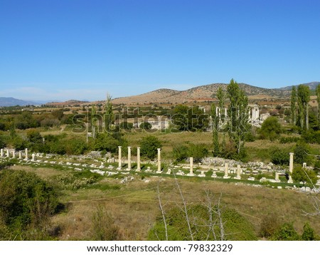 The ancient city of Aphrodisias, once the capital of the province of Lydia, is located near the village of Geyre in the district of Karacasu 38 km south of Nazilli. - stock photo