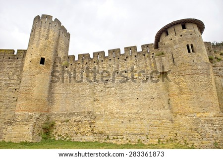 The ancient fortification of Carcassone in southern France - stock photo