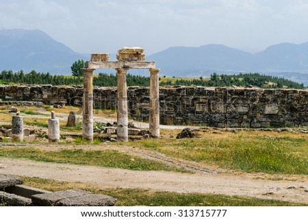 The ancient Greek and Roman city of Hierapolis (Taurus mountains, Pamukkale in Turkey). - stock photo