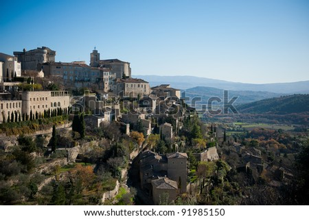 The ancient hill top village of Gordes in Provence, France - stock photo