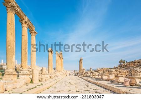 The ancient Jerash. Ruins of the Greco Roman city of Gerasa in Jordan. - stock photo