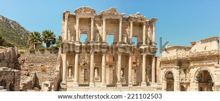 The ancient library of Ephesus in Turkey - stock photo