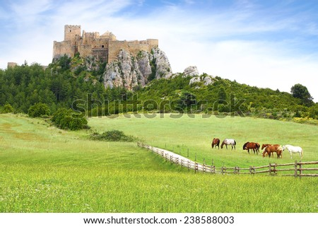 The Ancient Loarre Castle, Spain - stock photo