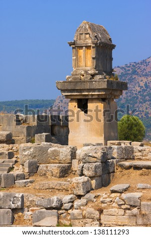 The ancient Lycian tomb on a pillar-pedestal in Xanthos, Turkey. - stock photo