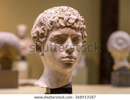 The ancient marble portrait bust - stock photo