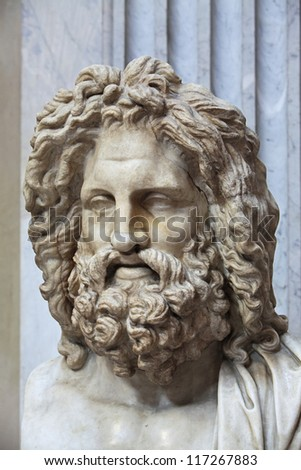 The ancient marble portrait bust of Zeus Otricoli - stock photo