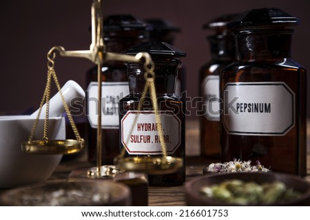 The ancient natural medicine, herbs and medicines - stock photo