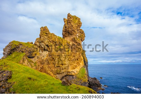 The ancient rocks covered with a green and yellow moss. Magnificent Iceland. Northern coast of Atlantic - stock photo