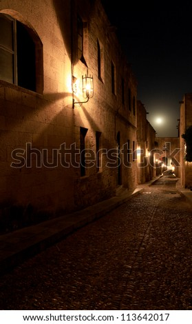 The ancient street of the knights in Rhodes Greece - stock photo