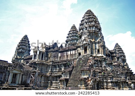 The ancient temple of Angkor Wat, a UNESCO World Heritage site near Siem Reap, Cambodia. - stock photo