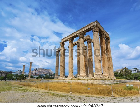 the ancient temple of Olympian Zeus in Athens, Greece  - stock photo