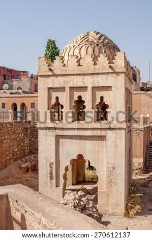 "The ancient temple ""Qubbat al-Baruddiyyin"" in Marrakesch in Morocco - stock photo"