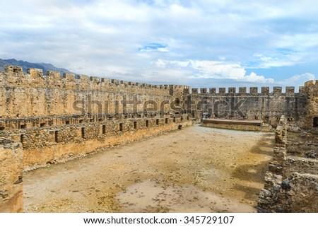 The ancient  Venetian fortress Frangokastello.Inner courtyard.Crete island.District of Chania. Greece.Europe. - stock photo