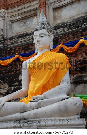 The Ancient White Buddha images in Ayuthaya, Thailand - stock photo