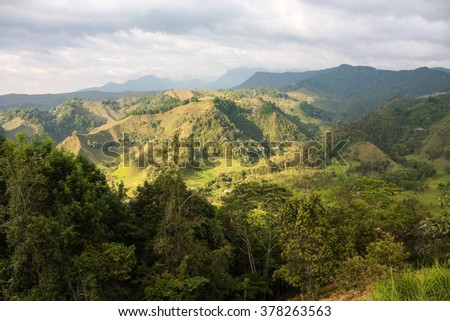The Andes Mountains from Salento. Quindio province. Colombia. - stock photo