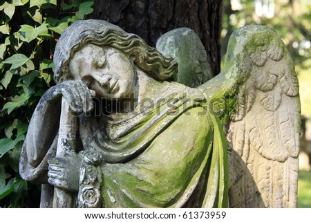The Angel on the old Prague Cemetery - stock photo
