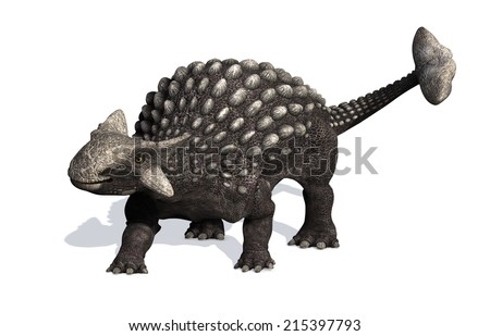 The Ankylosaurus dinosaur lived during the Cretaceous period - 3D render. - stock photo