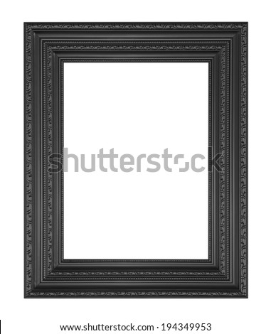 The antique black frame on the white background - stock photo
