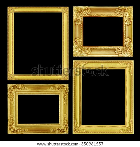 The antique gold frame on black background - stock photo