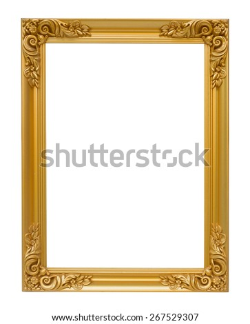 The antique gold vintage frame luxury isolated white background. - stock photo