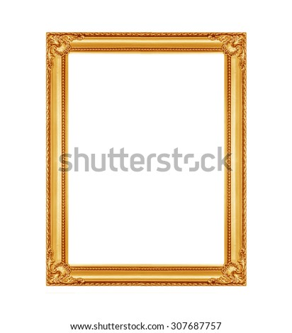 The antique golde frame on the white background - stock photo