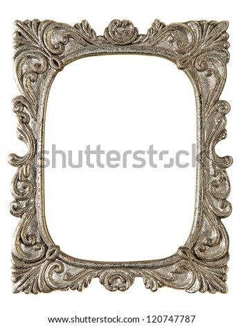 The antique photo frame on the white background - stock photo