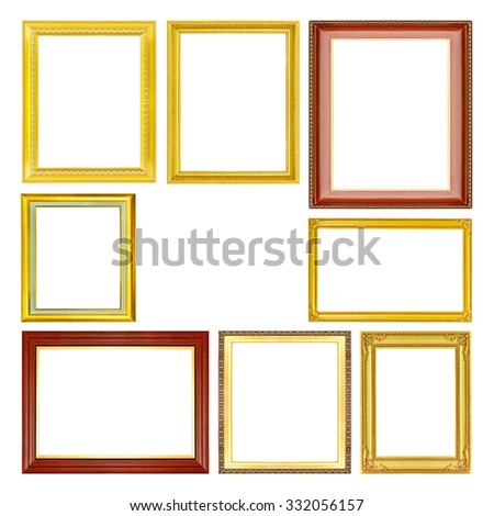 The antique set of gold frame on the white background - stock photo