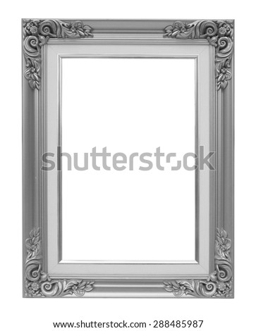 The antique silver vintage frame isolated white background. - stock photo