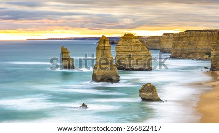 The 12 apostles in the sunset time in the cloudy day - stock photo
