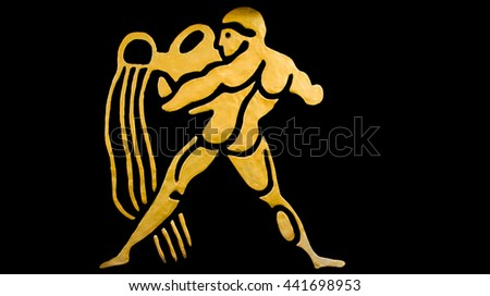 The Aquarius sign of horoscope on the wall temple - stock photo