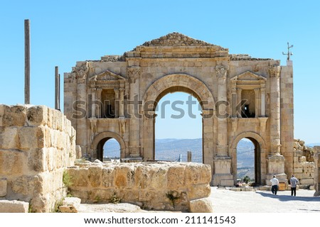 The Arch of Hadrian in Jerash, Gerasa of Antiquity ,Jordan - stock photo