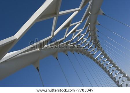 The arch of the Humber River suspension bridge in Toronto Ontario Canada. - stock photo