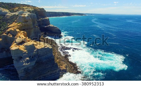 The Arch. Rock formation along Great Ocean Road, Australia. Aerial view. - stock photo