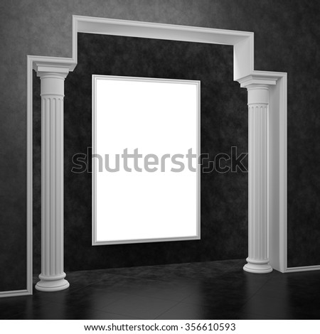 The arch with two columns and a white frame on the wall - stock photo